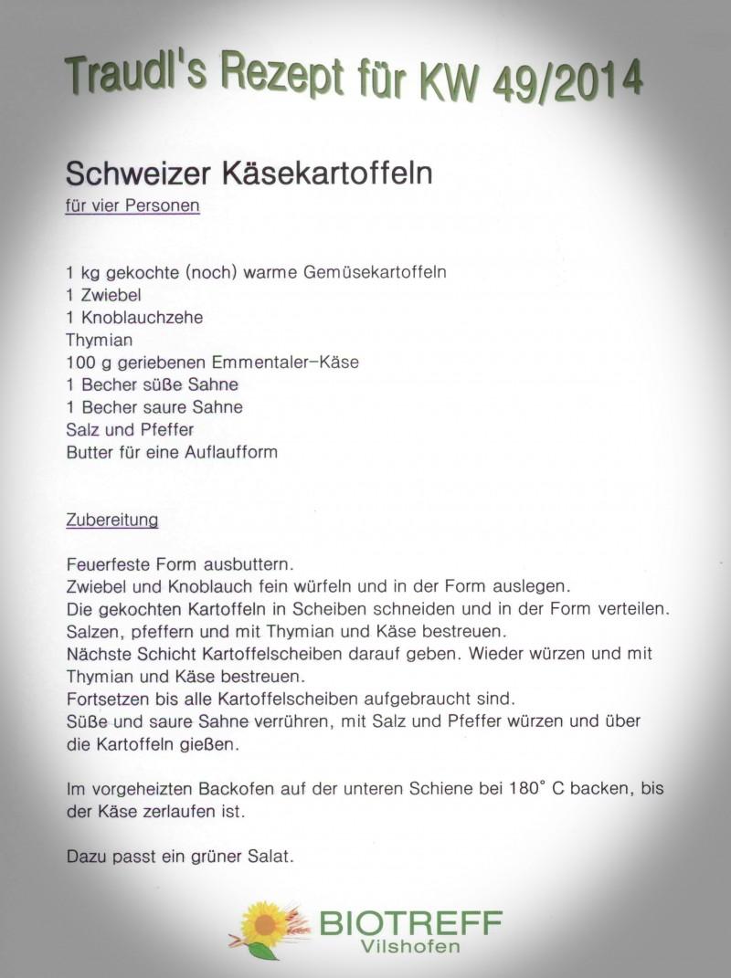 Schweizer Käsekartoffeln 2014 KW 49
