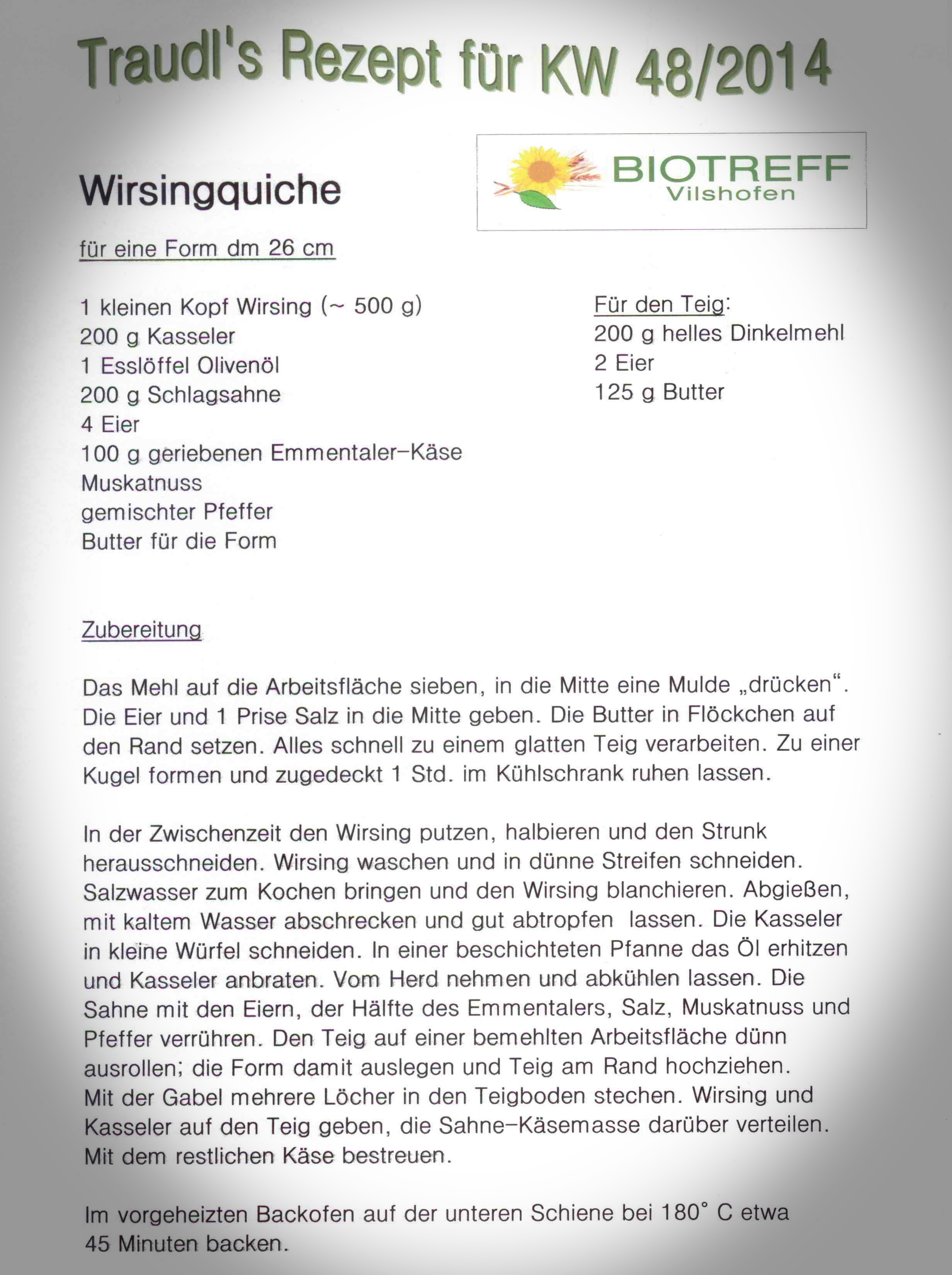 Wirsingquiche 2014 KW 48
