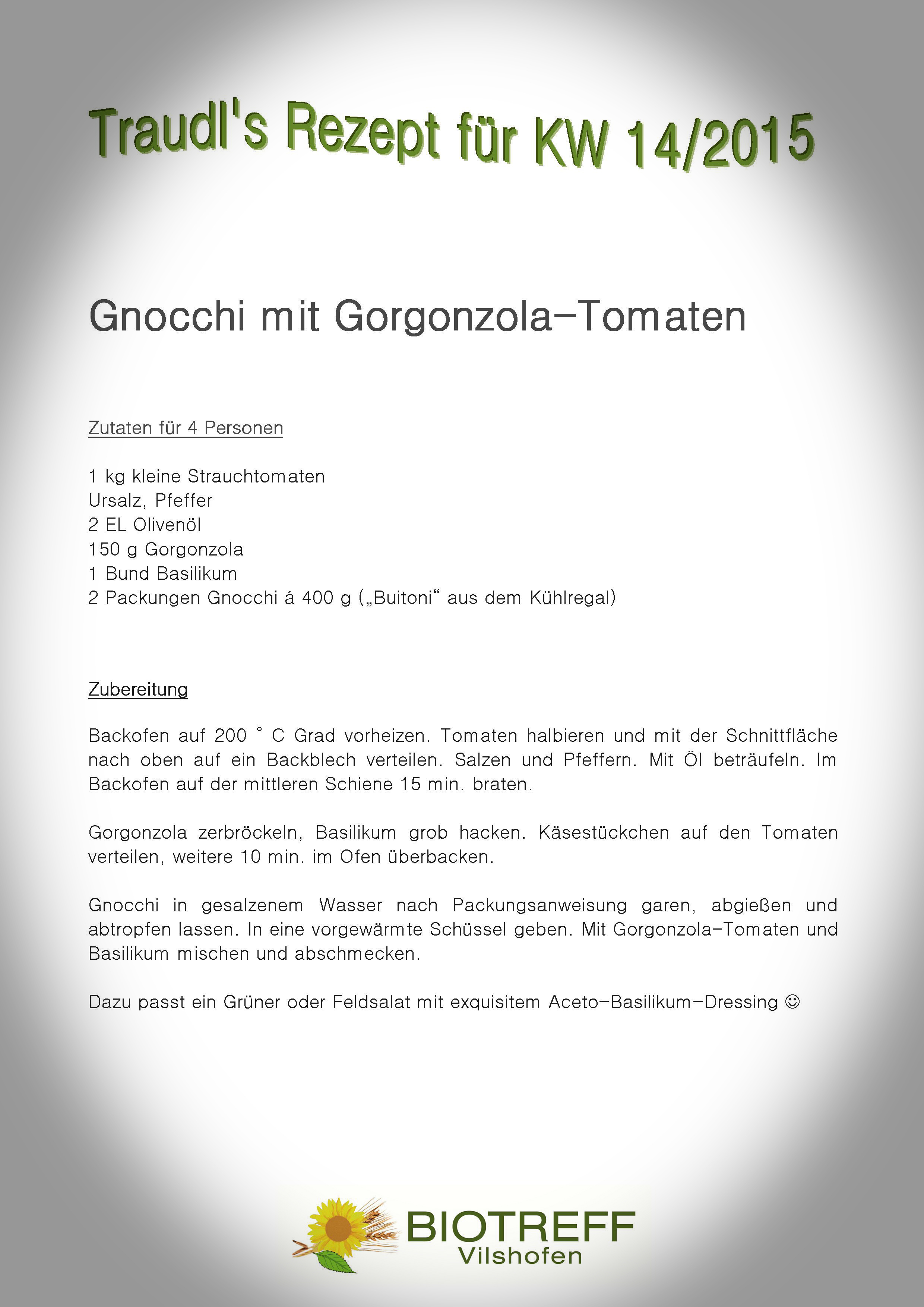 KW 14 Gnocchi mit Gorgonzola-Tomaten