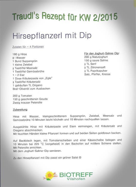 KW 2 Hirsepflanzerl mit Dip (Mittel)