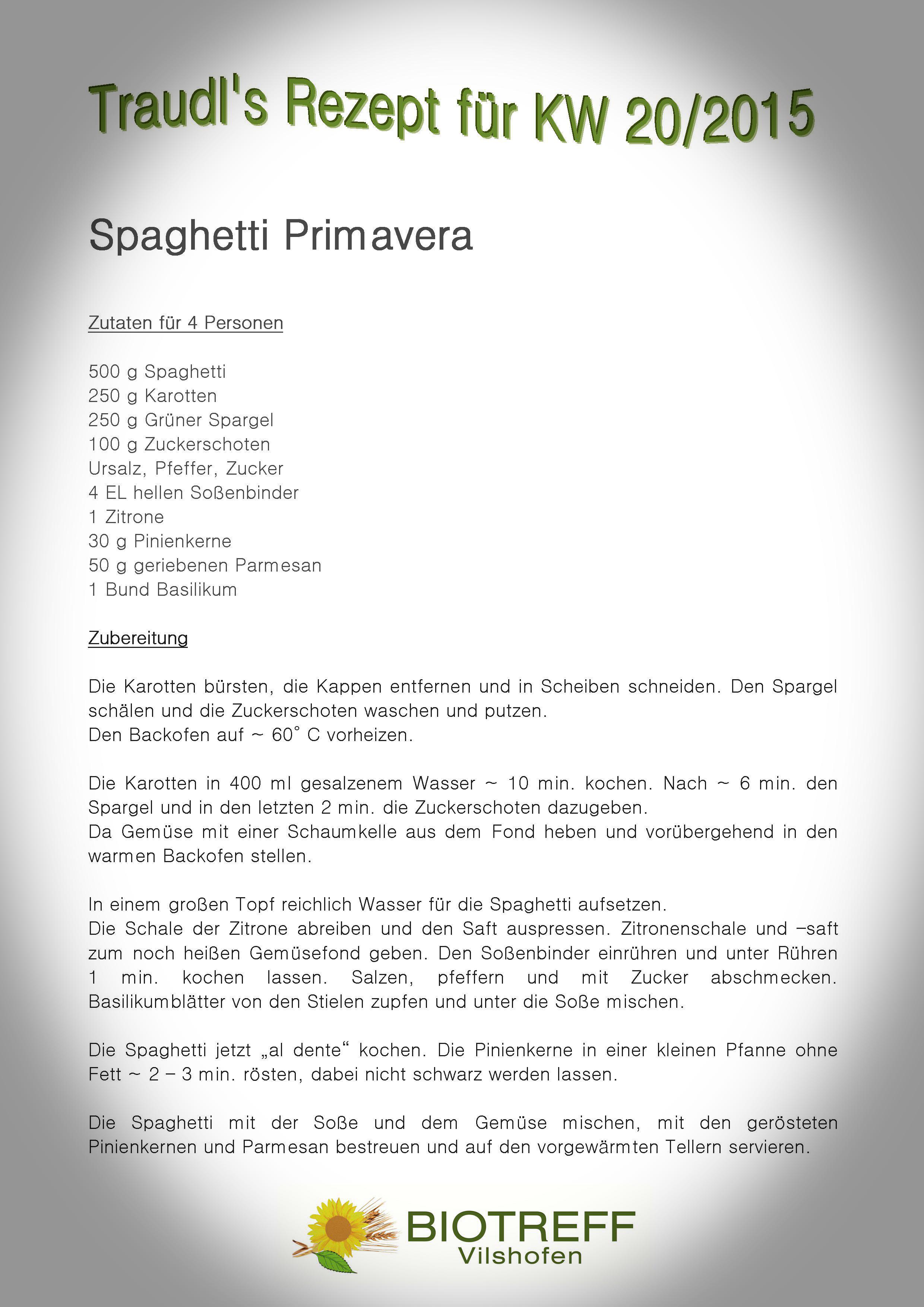 KW 20 Spaghetti Primavera