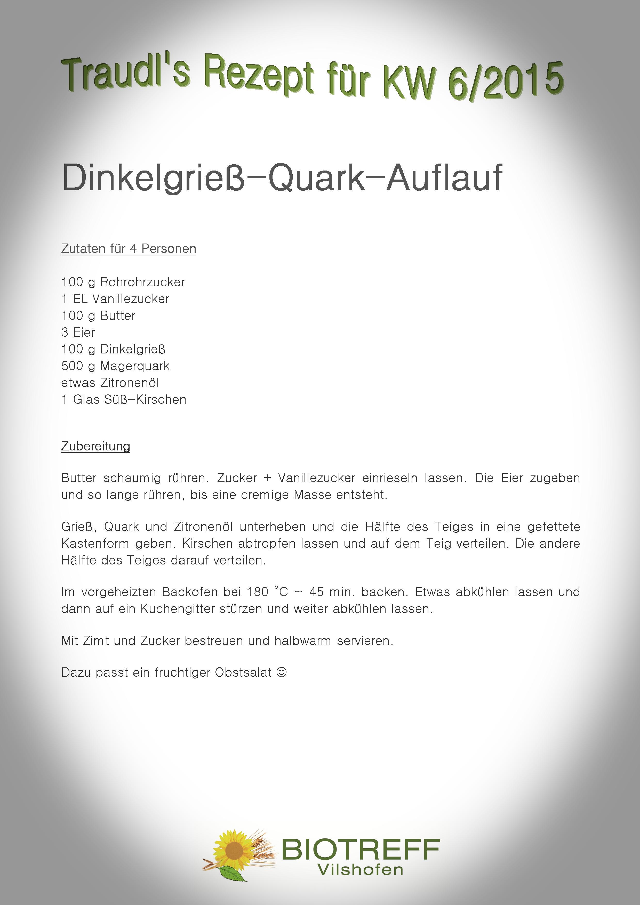 KW 6 Dinkelgrieß-Quark-Auflauf