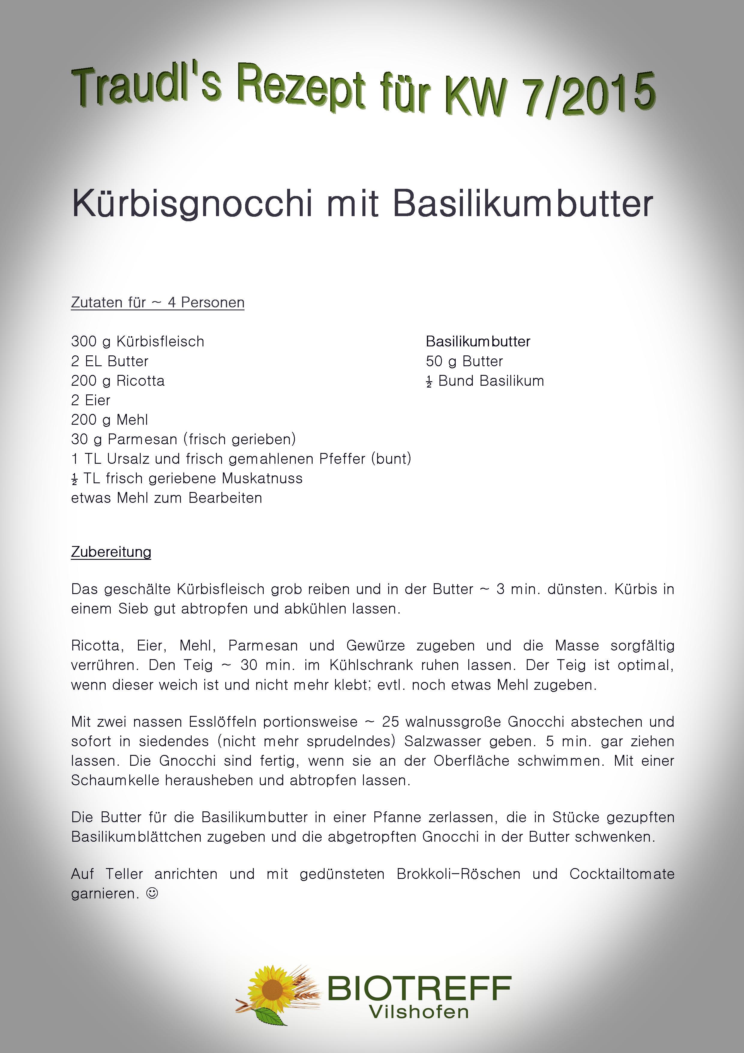 KW 7 Kürbisgnocchi mit Basilikumbutter