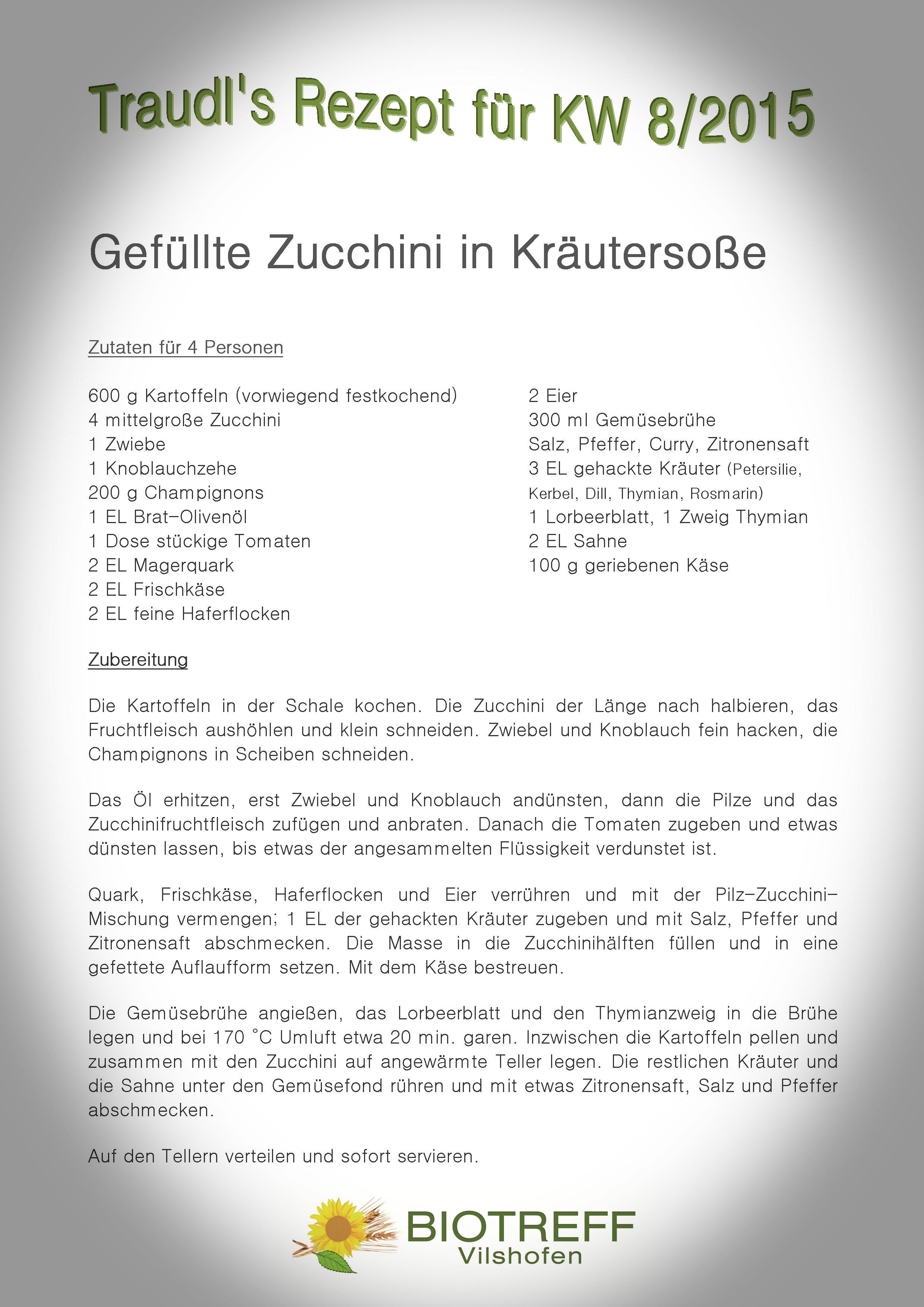 KW 8 Gefüllte Zucchini in Kräutersoße